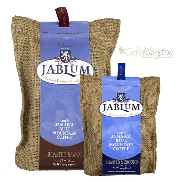 JABLUM Classic 100% Jamaica Blue Mountain Coffee. Available in whole beans, roasted ground at 8oz and 16oz packages.